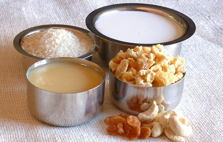 Milk, Rice, Ghee, Jaggery, Golden Raisins and Cashews ~ Ingredients for Bellam Paramannam