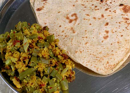 Chapati with Paruppu Usili made of Green beans (Roti and Lentil Curry with Green Beans)