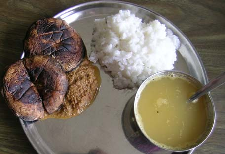 Grilled Portabellas in Sesame Sauce, Lentil Soup and Rice