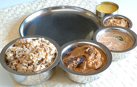 Pulagam, Stuffed Brinjal Curry with Peanuts, Peanut-Jaggery Chutney, Peanut Pacchi Pulusu and Homemade Ghee