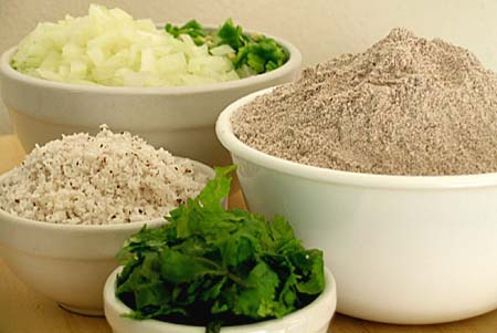 Ragi Flour, Onion, Green Chilli, Fresh Coconut and Cilantro - Ingredients for Ragi Dosa or Utappam