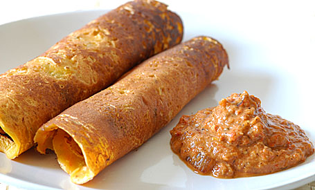 Red Bell Pepper Chutney and Besan Dosas