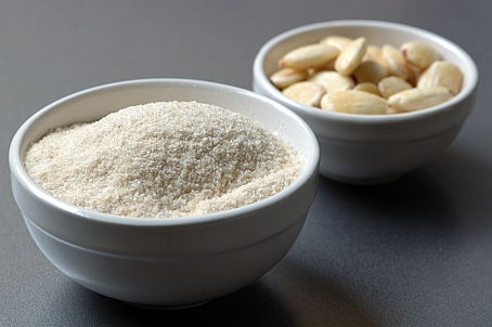 Pulverized Brown Basmati Rice and Almonds without skins