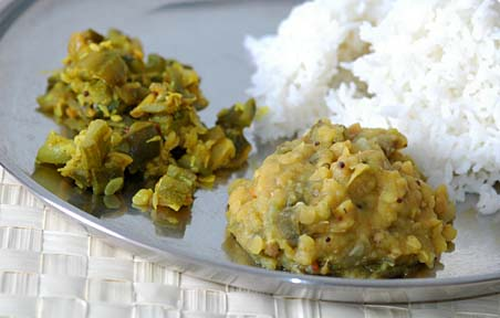Ridge Gourd Dal with rice and curry
