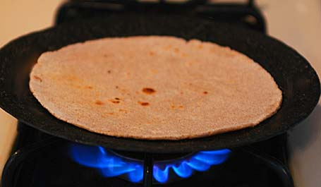 Roti is turned to otherside
