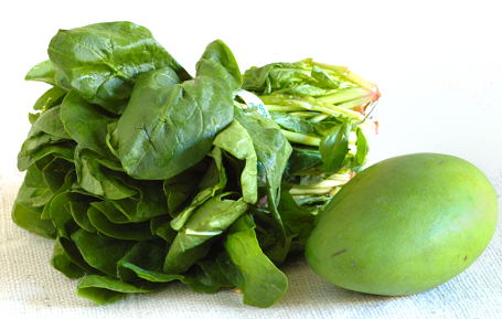 Spinach and Unripe Green Mango