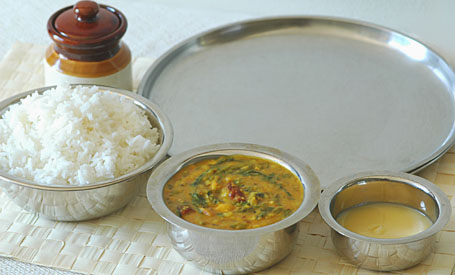 Spinach-Garlic Dal with Rice