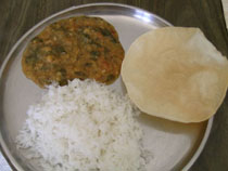 Spinach dal, Rice and Papad