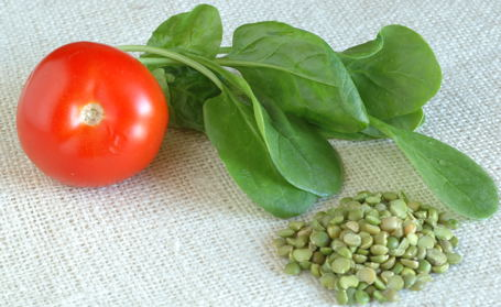 Green Split Peas, Spinach and Tomato
