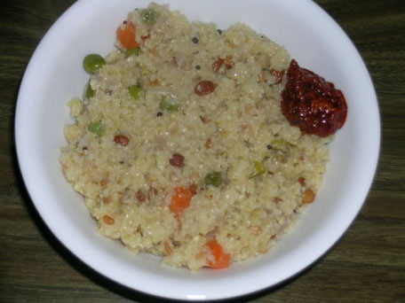 Upma and Andhra Mango Pickle