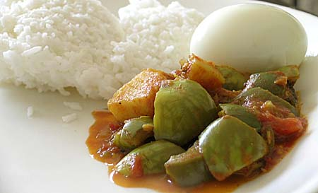 Brinjal & Potato Curry with Rice and Boiled Egg