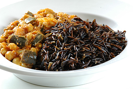 Wild Rice with Eggplant-Chickpea Curry (Brinjal-Chole)
